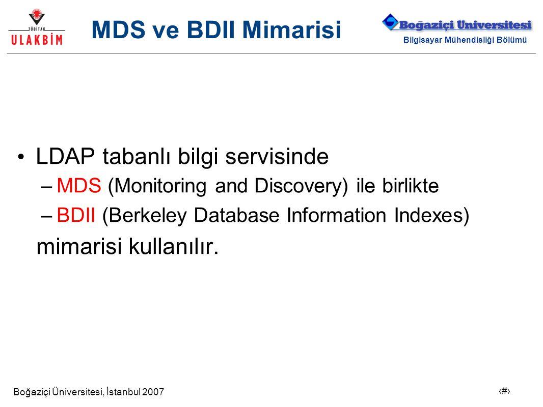 Boğaziçi Üniversitesi, İstanbul 2007 6 Bilgisayar Mühendisliği Bölümü MDS ve BDII Mimarisi LDAP tabanlı bilgi servisinde –MDS (Monitoring and Discover