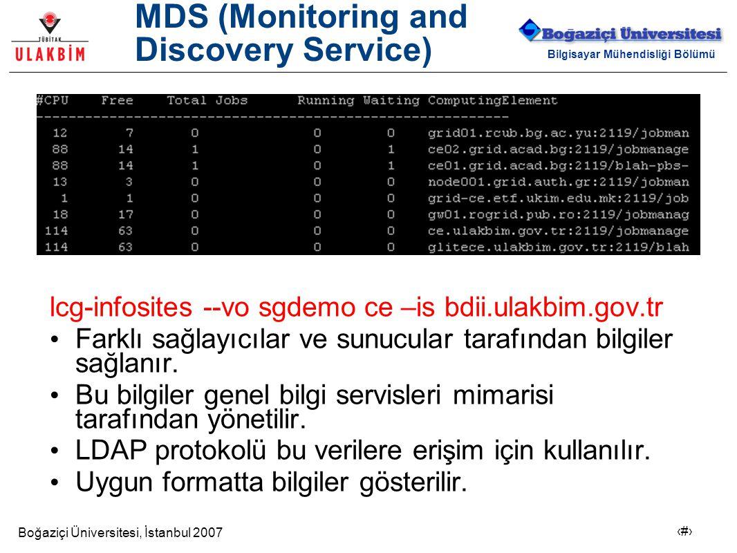 Boğaziçi Üniversitesi, İstanbul 2007 8 Bilgisayar Mühendisliği Bölümü MDS (Monitoring and Discovery Service) lcg-infosites --vo sgdemo ce –is bdii.ula