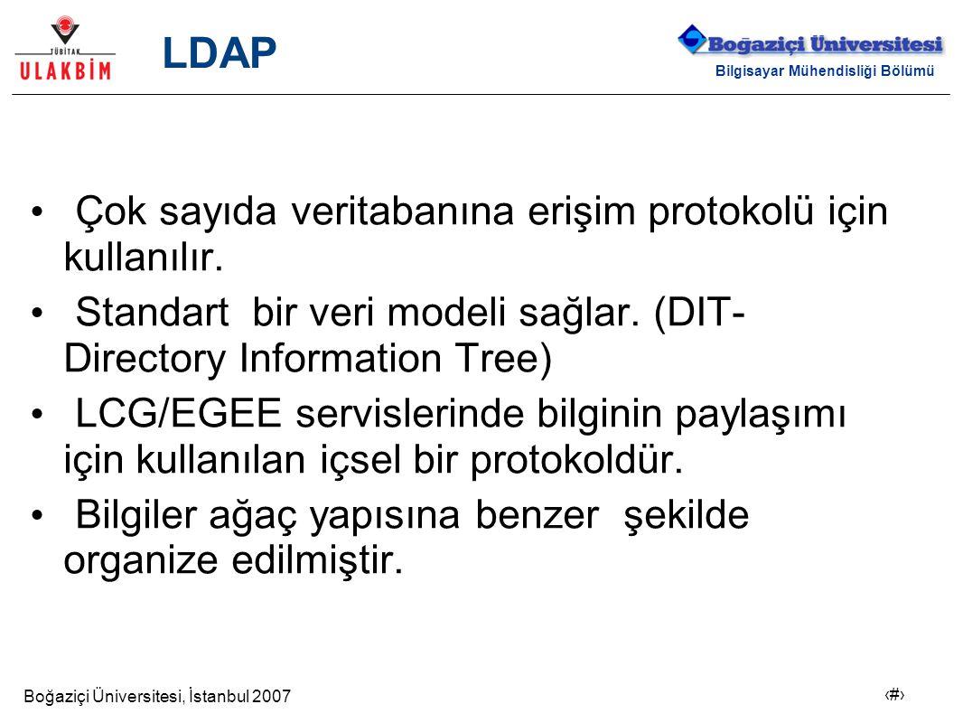 Boğaziçi Üniversitesi, İstanbul 2007 9 Bilgisayar Mühendisliği Bölümü LDAP Çok sayıda veritabanına erişim protokolü için kullanılır. Standart bir veri