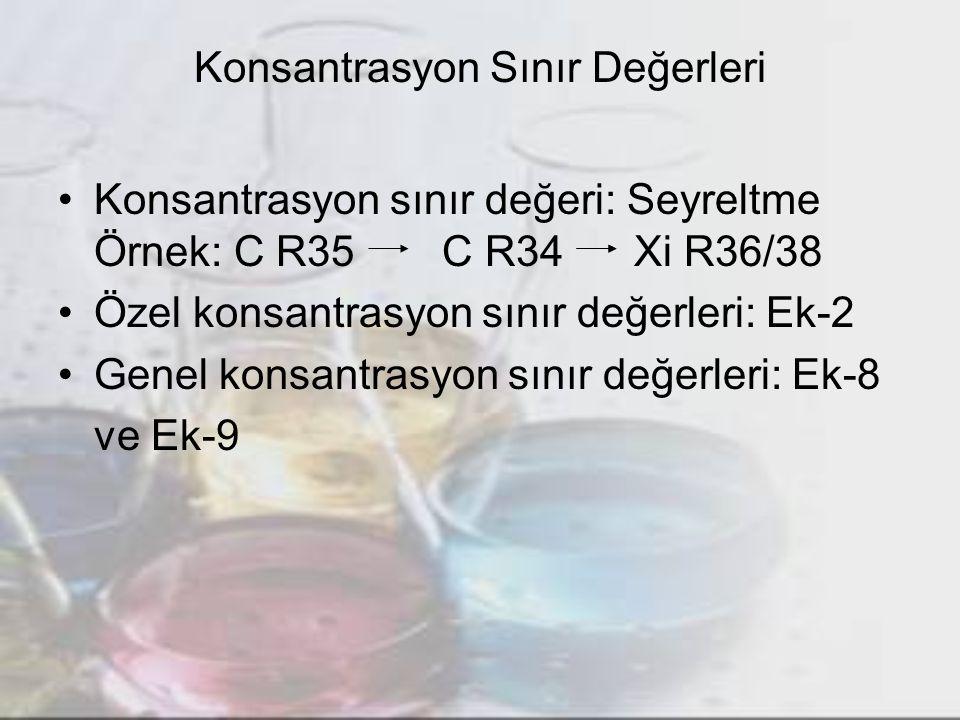 Konsantrasyon Sınır Değerleri Konsantrasyon sınır değeri: Seyreltme Örnek: C R35C R34 Xi R36/38 Özel konsantrasyon sınır değerleri: Ek-2 Genel konsantrasyon sınır değerleri: Ek-8 ve Ek-9