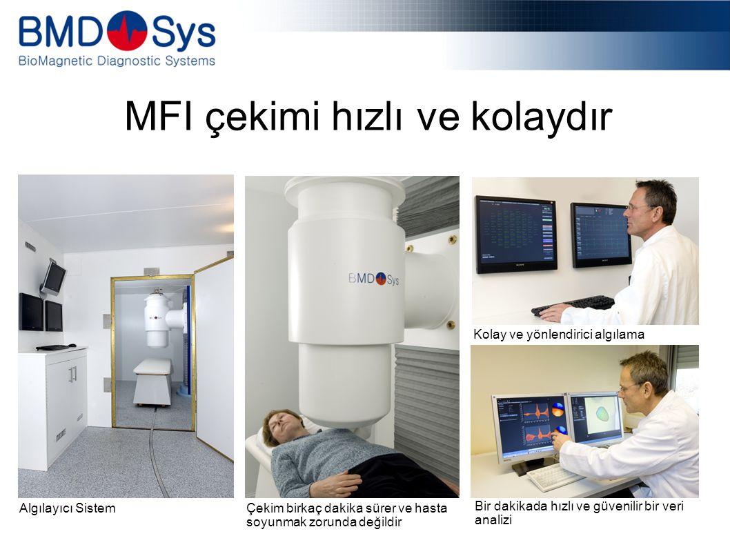 MFI çekimi hızlı ve kolaydır Kolay ve yönlendirici algılama Bir dakikada hızlı ve güvenilir bir veri analizi Algılayıcı Sistem Çekim birkaç dakika sürer ve hasta soyunmak zorunda değildir