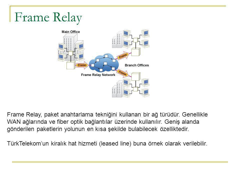 Frame Relay Frame Relay, paket anahtarlama tekniğini kullanan bir ağ türüdür.