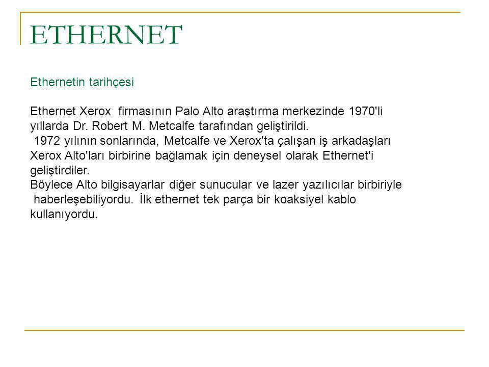ETHERNET Ethernetin tarihçesi Ethernet Xerox firmasının Palo Alto araştırma merkezinde 1970 li yıllarda Dr.