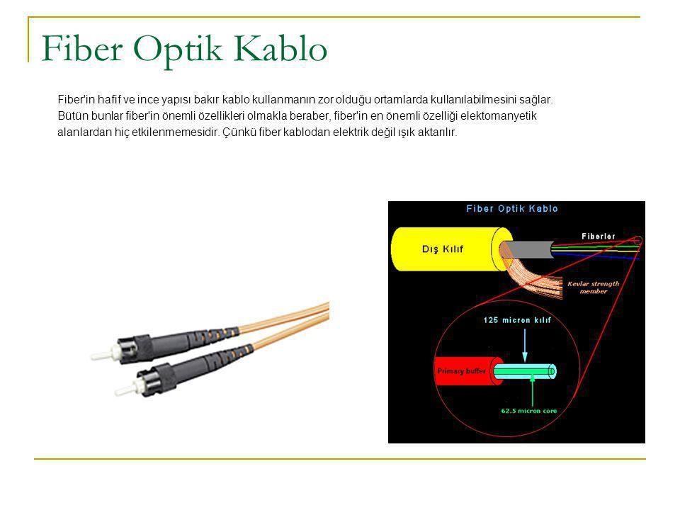 Fiber Optik Kablo Fiber in hafif ve ince yapısı bakır kablo kullanmanın zor olduğu ortamlarda kullanılabilmesini sağlar.