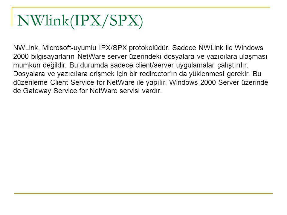 NWlink(IPX/SPX) NWLink, Microsoft-uyumlu IPX/SPX protokolüdür.