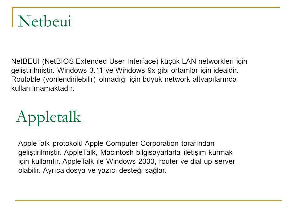Netbeui NetBEUI (NetBIOS Extended User Interface) küçük LAN networkleri için geliştirilmiştir.