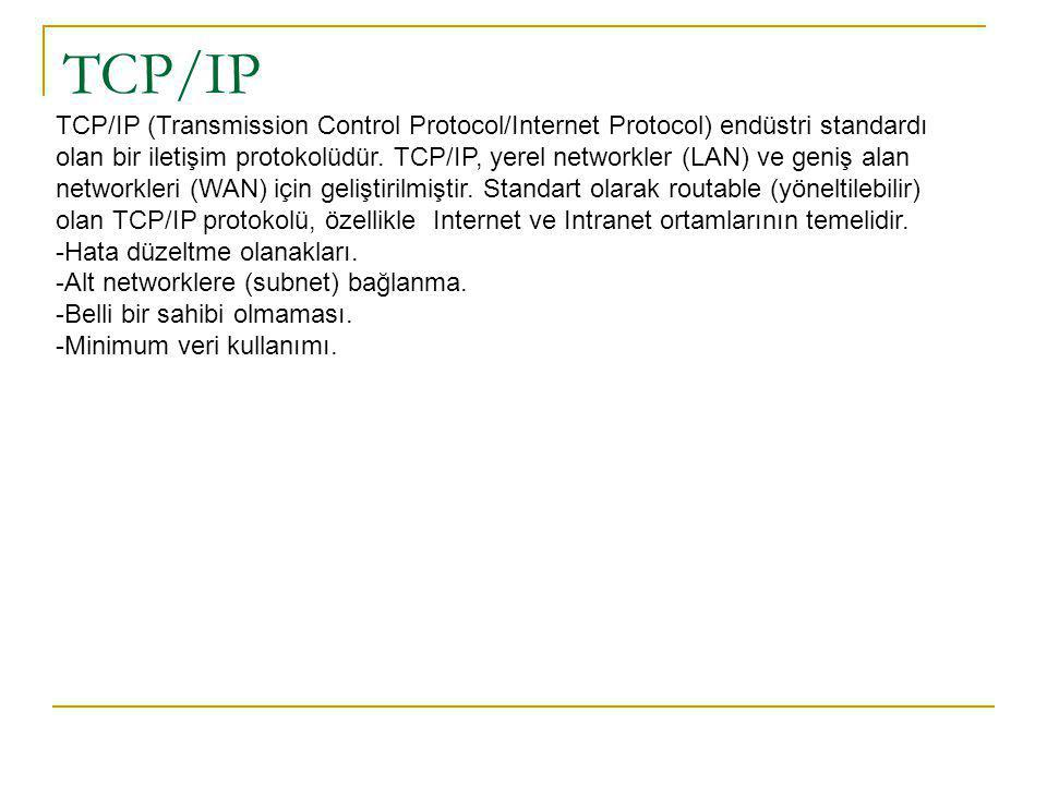 TCP/IP TCP/IP (Transmission Control Protocol/Internet Protocol) endüstri standardı olan bir iletişim protokolüdür.