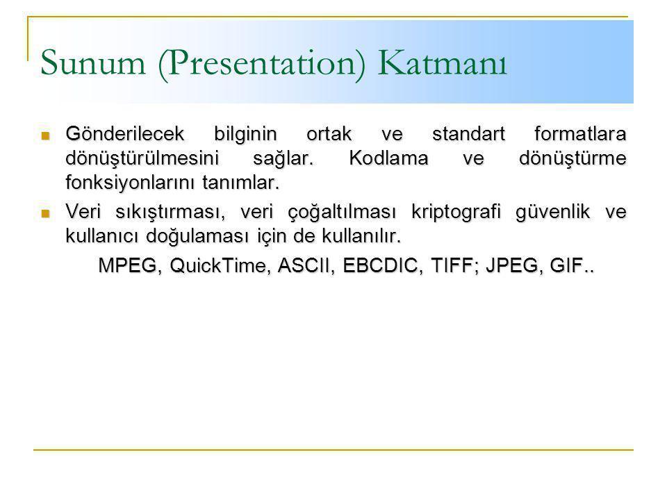 Sunum (Presentation) Katmanı Gönderilecek bilginin ortak ve standart formatlara dönüştürülmesini sağlar.
