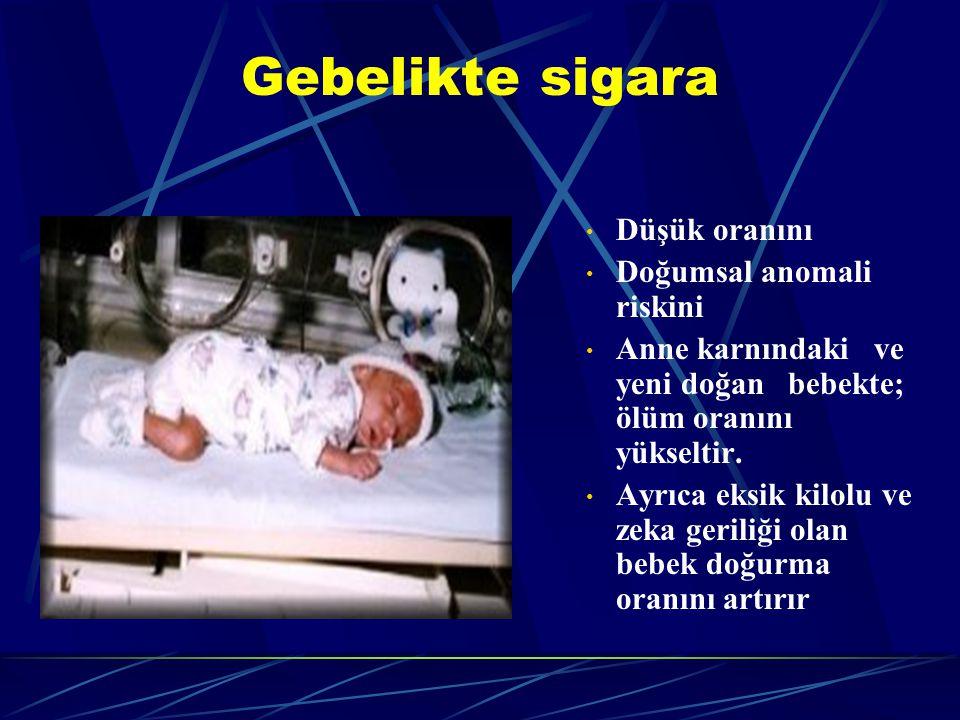 Gebelikte sigara Düşük oranını Doğumsal anomali riskini Anne karnındaki ve yeni doğan bebekte; ölüm oranını yükseltir.