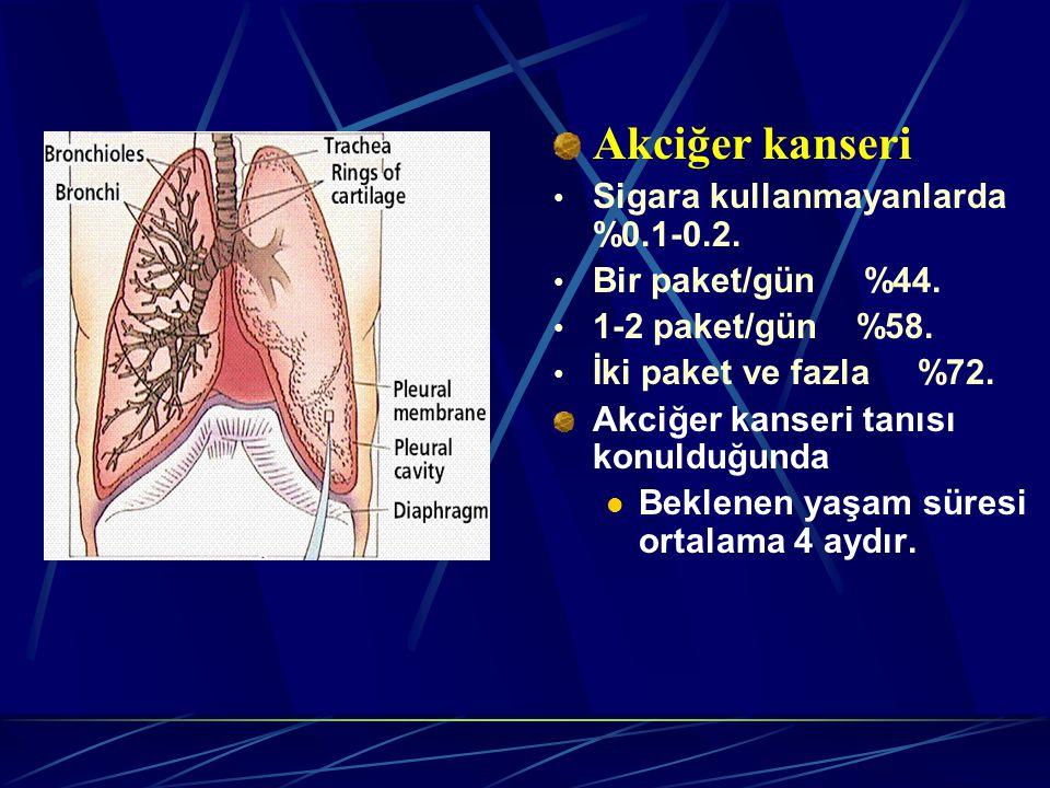 Akciğer kanseri Sigara kullanmayanlarda %0.1-0.2.Bir paket/gün %44.