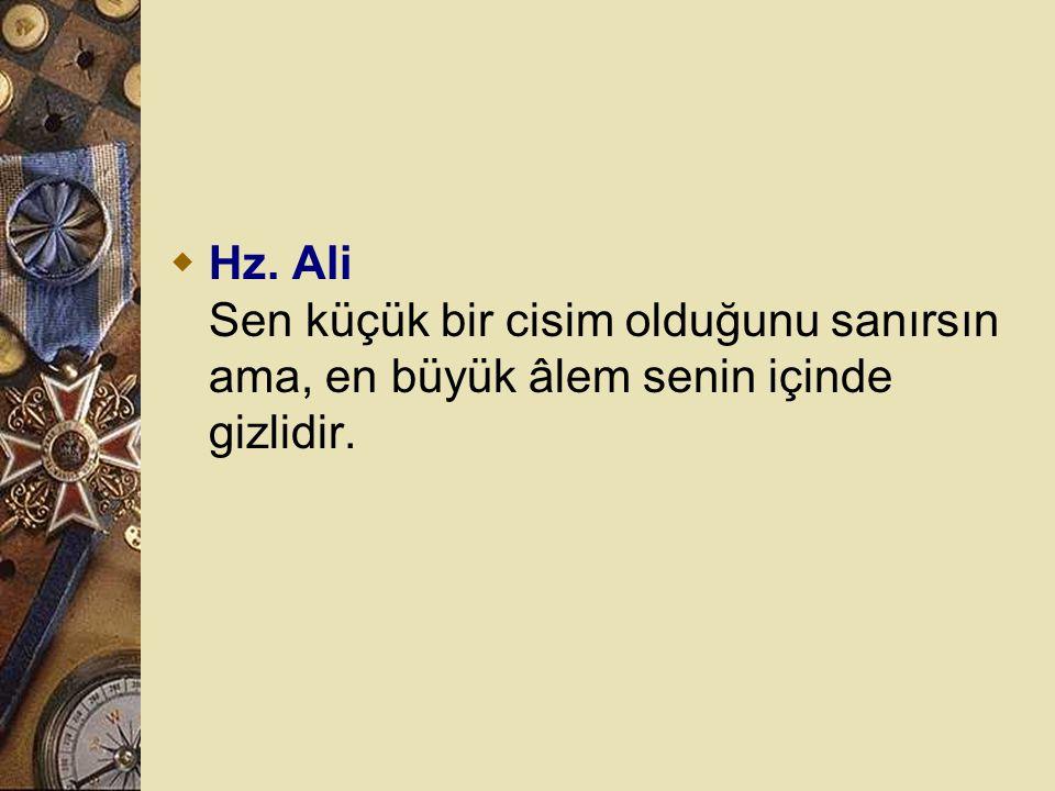  Hz. Ali Sen küçük bir cisim olduğunu sanırsın ama, en büyük âlem senin içinde gizlidir.