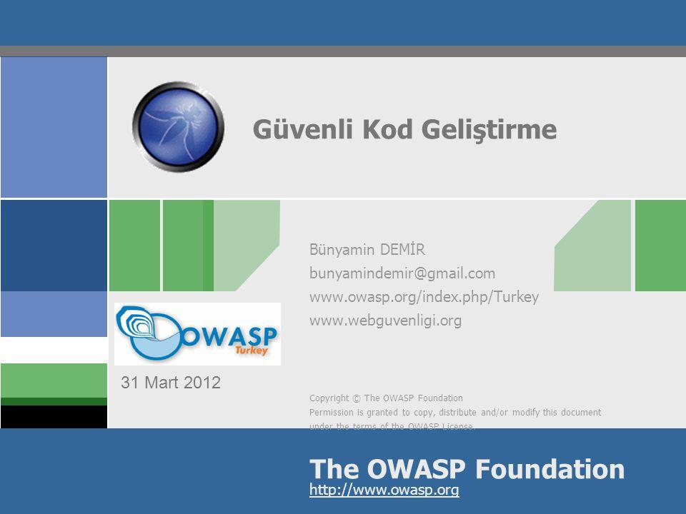 The OWASP Enterprise Security API ( ESAPI ) OWASP ESAPI – Misyon Güçlü, güvenli ve basit güvenlik kontrollerinin her uygulama geliştiricisi ve her uygulama platformu için sağlanması.