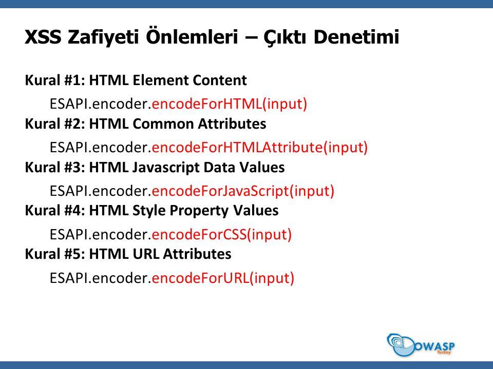 Kural #1: HTML Element Content ESAPI.encoder.encodeForHTML(input) Kural #2: HTML Common Attributes ESAPI.encoder.encodeForHTMLAttribute(input) Kural #