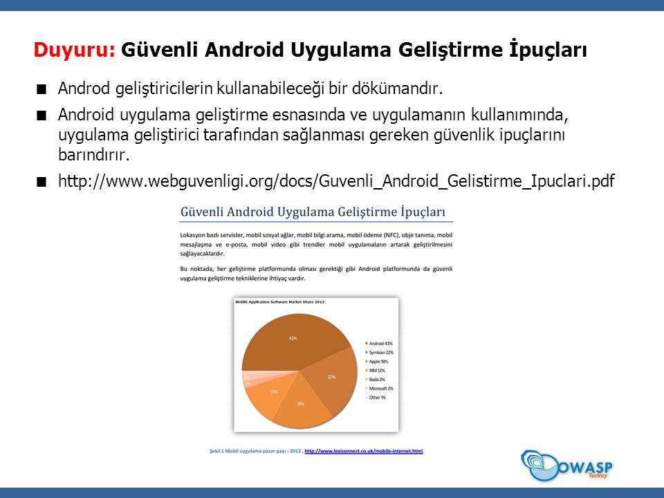 Duyuru: Güvenli Android Uygulama Geliştirme İpuçları  Androd geliştiricilerin kullanabileceği bir dökümandır.  Android uygulama geliştirme esnasında