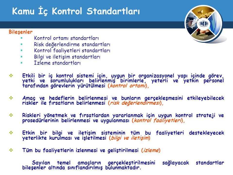 Kamu İç Kontrol Standartları Bileşenler  Kontrol ortamı standartları  Risk değerlendirme standartları  Kontrol faaliyetleri standartları  Bilgi ve