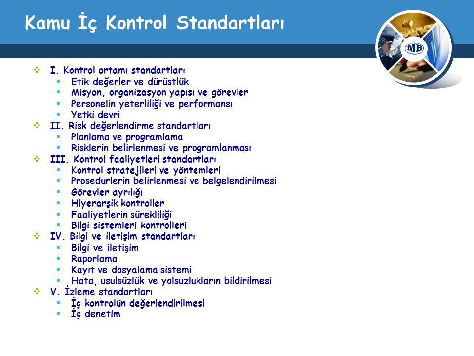 Kamu İç Kontrol Standartları  I. Kontrol ortamı standartları  Etik değerler ve dürüstlük  Misyon, organizasyon yapısı ve görevler  Personelin yete
