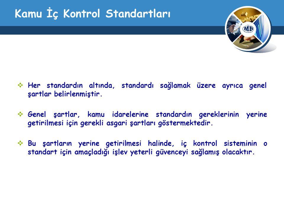 Kamu İç Kontrol Standartları  Her standardın altında, standardı sağlamak üzere ayrıca genel şartlar belirlenmiştir.  Genel şartlar, kamu idarelerine
