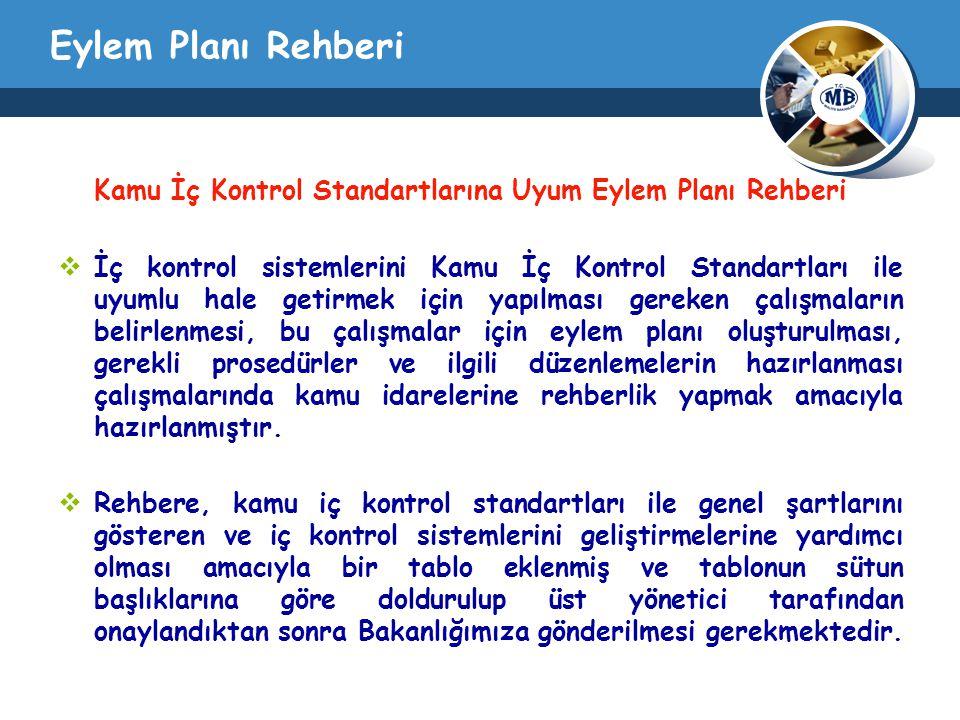 Eylem Planı Rehberi Kamu İç Kontrol Standartlarına Uyum Eylem Planı Rehberi  İç kontrol sistemlerini Kamu İç Kontrol Standartları ile uyumlu hale get