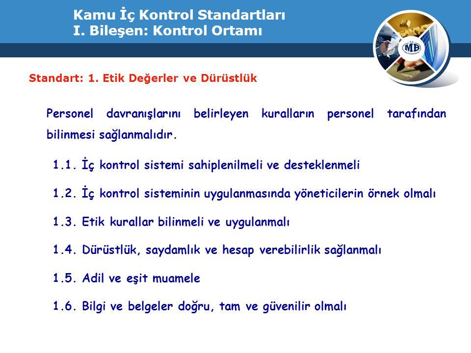 Kamu İç Kontrol Standartları I. Bileşen: Kontrol Ortamı Standart: 1. Etik Değerler ve Dürüstlük Personel davranışlarını belirleyen kuralların personel