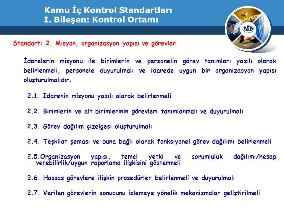 Kamu İç Kontrol Standartları I. Bileşen: Kontrol Ortamı Standart: 2. Misyon, organizasyon yapısı ve görevler İdarelerin misyonu ile birimlerin ve pers