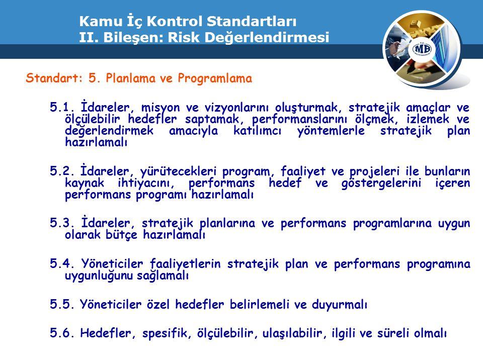 Kamu İç Kontrol Standartları II. Bileşen: Risk Değerlendirmesi Standart: 5. Planlama ve Programlama 5.1. İdareler, misyon ve vizyonlarını oluşturmak,