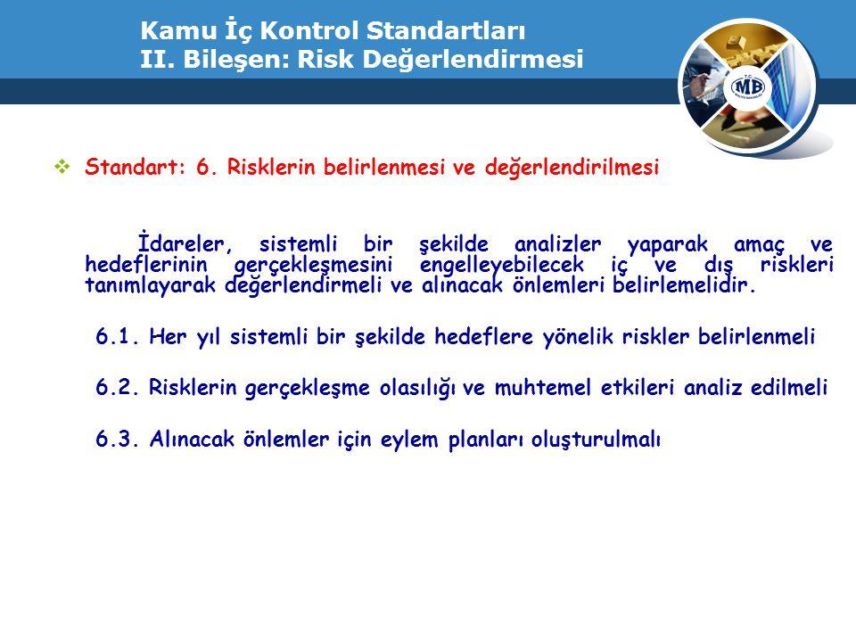 Kamu İç Kontrol Standartları II. Bileşen: Risk Değerlendirmesi  Standart: 6. Risklerin belirlenmesi ve değerlendirilmesi İdareler, sistemli bir şekil