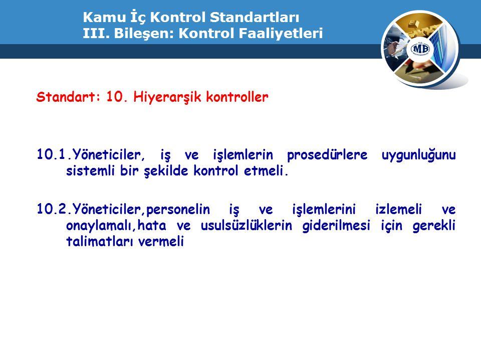 Kamu İç Kontrol Standartları III. Bileşen: Kontrol Faaliyetleri Standart: 10. Hiyerarşik kontroller 10.1.Yöneticiler, iş ve işlemlerin prosedürlere uy