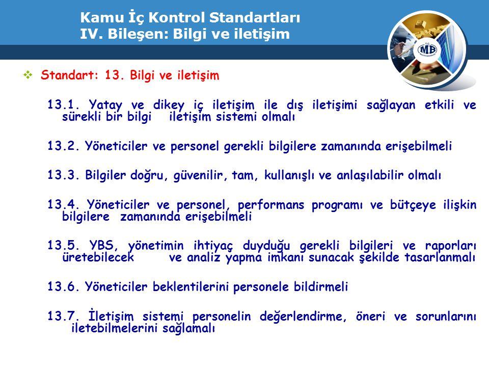 Kamu İç Kontrol Standartları IV. Bileşen: Bilgi ve iletişim  Standart: 13. Bilgi ve iletişim 13.1. Yatay ve dikey iç iletişim ile dış iletişimi sağla