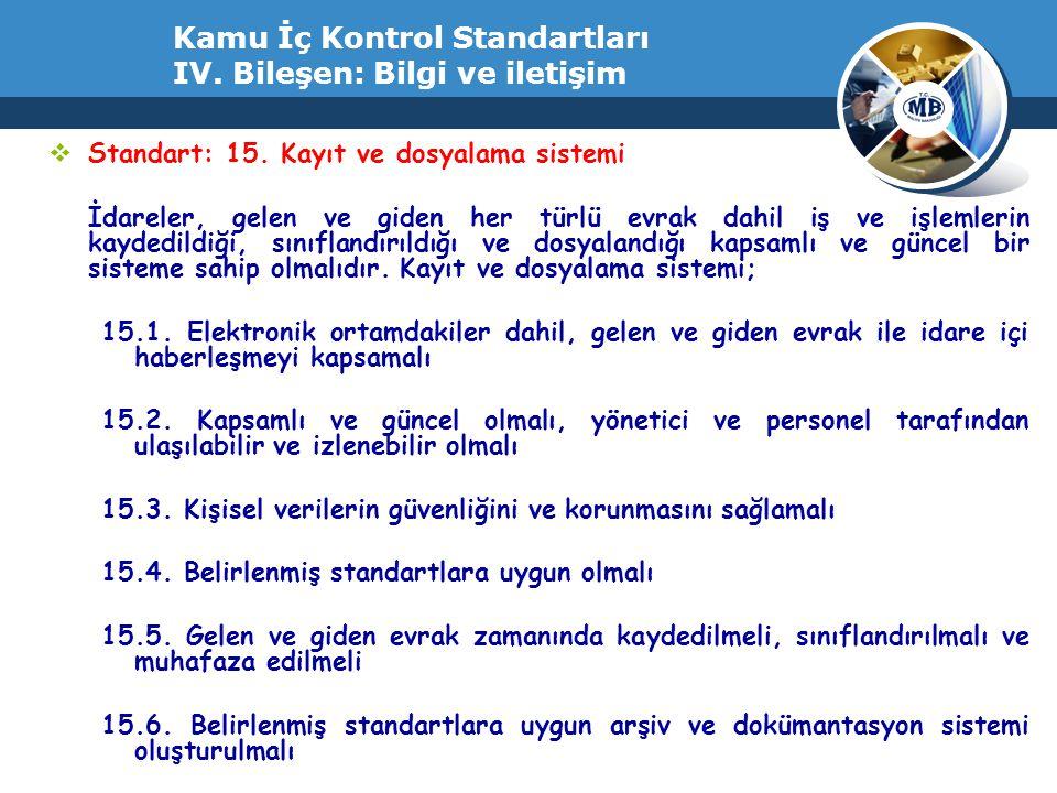 Kamu İç Kontrol Standartları IV. Bileşen: Bilgi ve iletişim  Standart: 15. Kayıt ve dosyalama sistemi İdareler, gelen ve giden her türlü evrak dahil