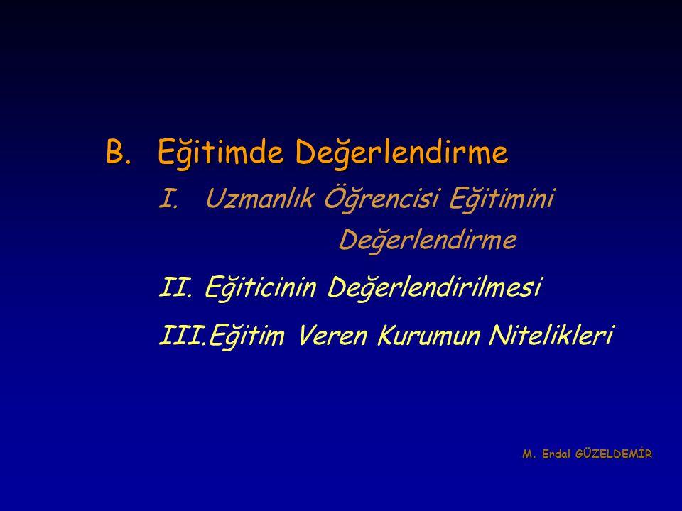 B.Eğitimde Değerlendirme I.Uzmanlık Öğrencisi Eğitimini Değerlendirme II.Eğiticinin Değerlendirilmesi III.Eğitim Veren Kurumun Nitelikleri M. Erdal GÜ