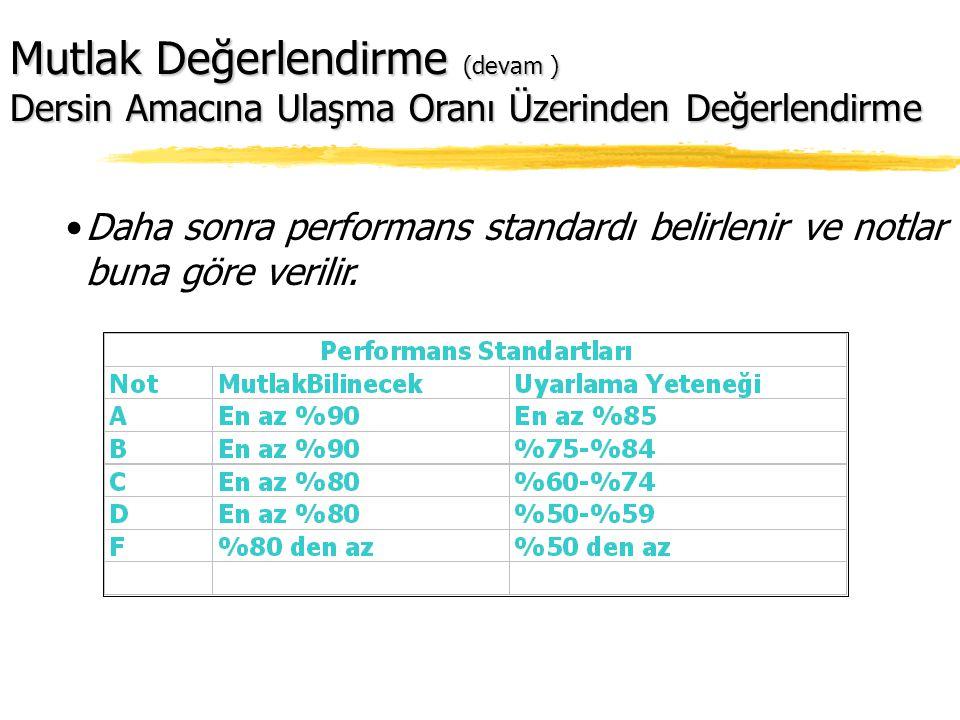 Daha sonra performans standardı belirlenir ve notlar buna göre verilir.