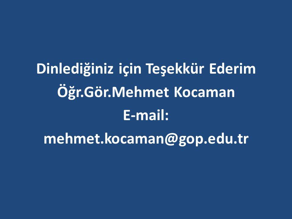Dinlediğiniz için Teşekkür Ederim Öğr.Gör.Mehmet Kocaman E-mail: mehmet.kocaman@gop.edu.tr