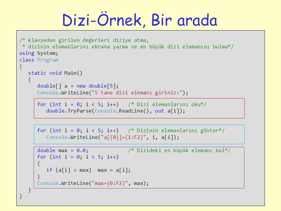 15 Dizi-Örnek, Bir arada /* klavyeden girilen değerleri diziye atma, * dizinin elemanlarını ekrana yazma ve en büyük dizi elemanını bulma*/ using Syst