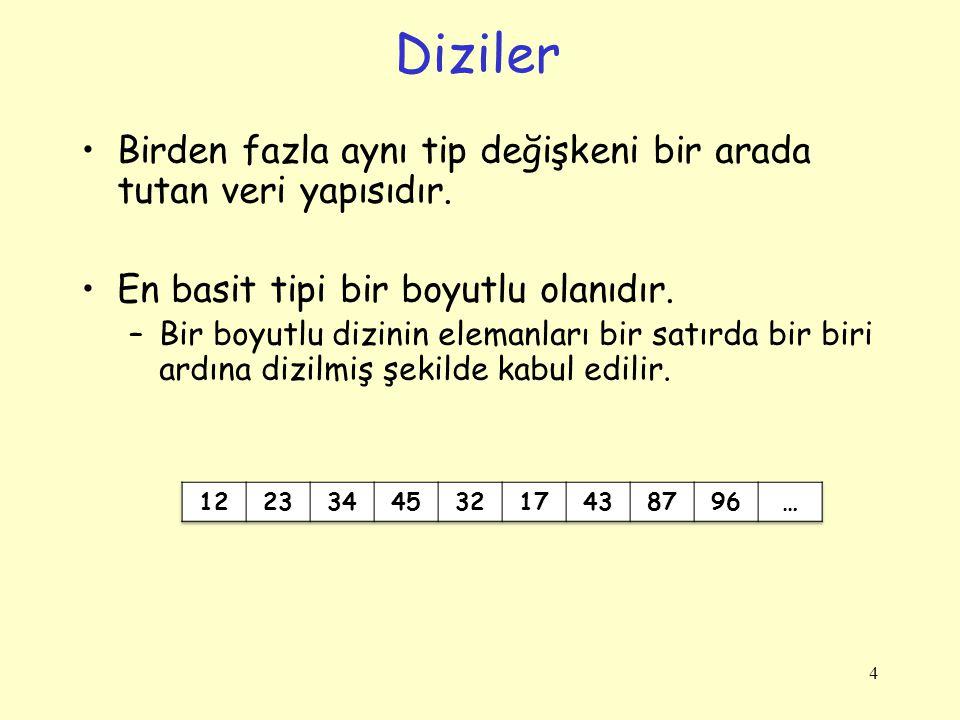 15 Dizi-Örnek, Bir arada /* klavyeden girilen değerleri diziye atma, * dizinin elemanlarını ekrana yazma ve en büyük dizi elemanını bulma*/ using System; class Program { static void Main() { double[] a = new double[5]; Console.WriteLine( 5 tane dizi elemanı giriniz: ); for (int i = 0; i < 5; i++) /* Dizi elemanlarını oku*/ double.TryParse(Console.ReadLine(), out a[i]); for (int i = 0; i < 5; i++) /* Dizinin elemanlarını göster*/ Console.WriteLine( a[{0}]={1:F2} , i, a[i]); double max = 0.0; /* Dizideki en büyük elemanı bul*/ for (int i = 0; i < 5; i++) { if (a[i] > max) max = a[i]; } Console.WriteLine( max={0:F2} , max); }