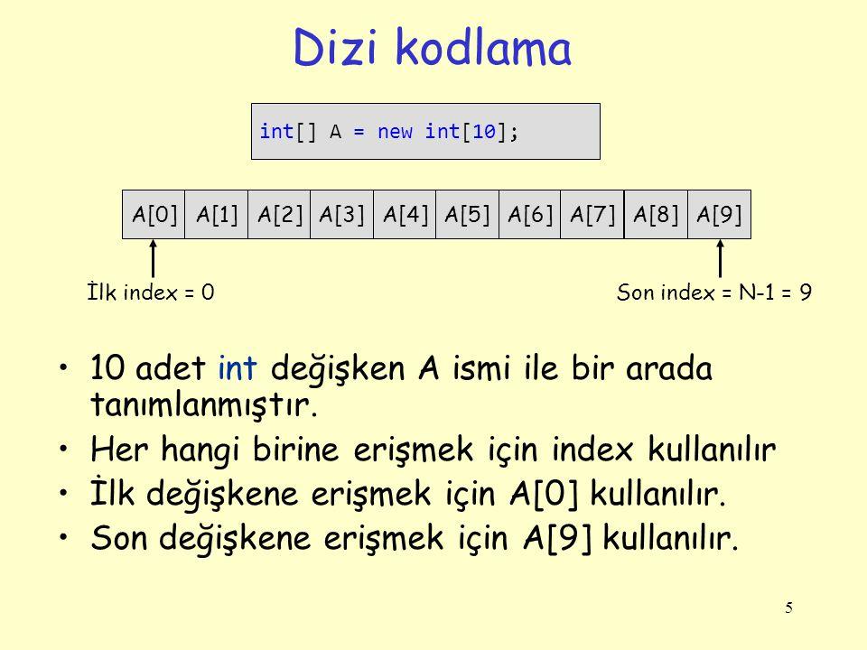 Dizi kodlama 5 int[] A = new int[10]; A[0]A[1]A[2]A[3]A[4]A[5]A[6]A[7]A[8]A[9] İlk index = 0Son index = N-1 = 9 10 adet int değişken A ismi ile bir ar