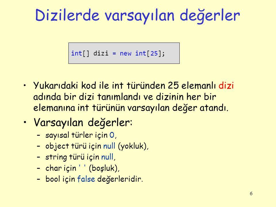 Dizilerde varsayılan değerler Yukarıdaki kod ile int türünden 25 elemanlı dizi adında bir dizi tanımlandı ve dizinin her bir elemanına int türünün var
