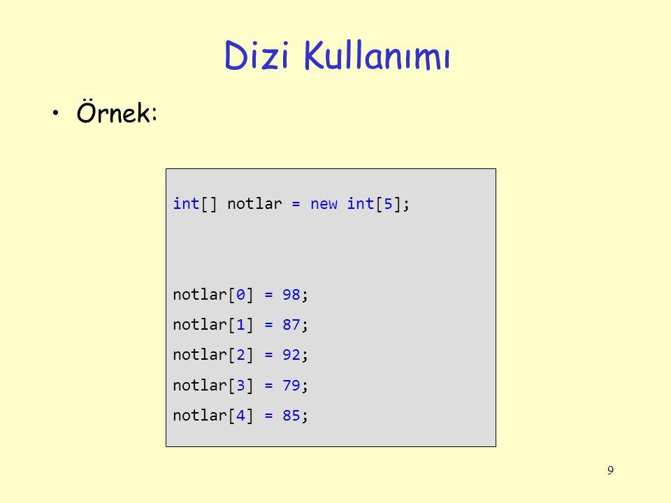 9 Dizi Kullanımı Örnek: int[] notlar = new int[5]; notlar[0] = 98; notlar[1] = 87; notlar[2] = 92; notlar[3] = 79; notlar[4] = 85;