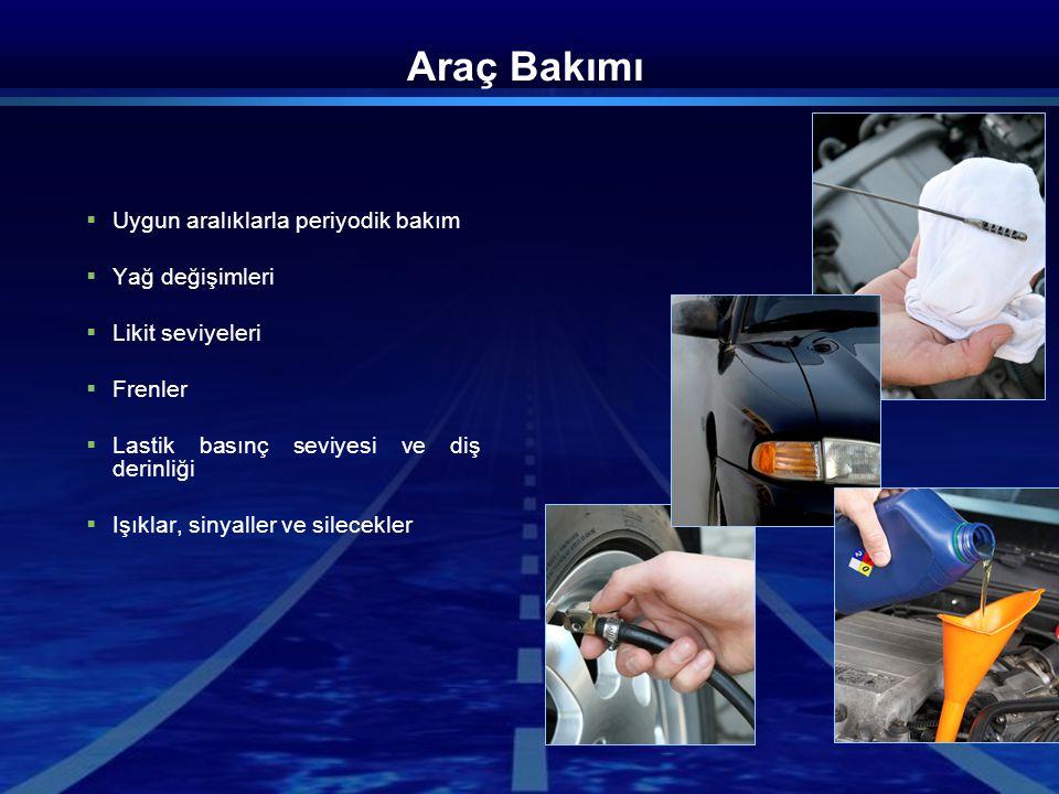 Sürüş Öncesi Kontrol  Araç çevresinde genel kontrol  Lastikler  Araç altında sızıntı  Temiz cam, uygun görüş  Uygun ayna duruşu  Uygun ışık