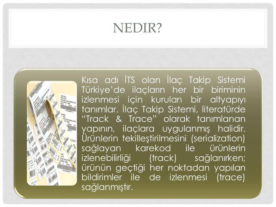 NEDIR? Kısa adı İTS olan İlaç Takip Sistemi Türkiye'de ilaçların her bir biriminin izlenmesi için kurulan bir altyapıyı tanımlar. İlaç Takip Sistemi,