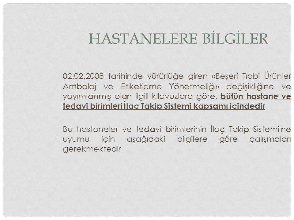 HASTANELERE BİLGİLER 02.02.2008 tarihinde yürürlüğe giren «Beşeri Tıbbi Ürünler Ambalaj ve Etiketleme Yönetmeliği» değişikliğine ve yayımlanmış olan i