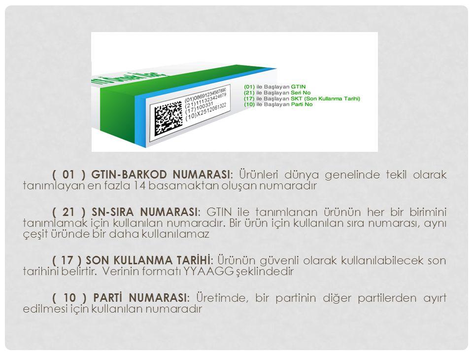 ( 01 ) GTIN-BARKOD NUMARASI : Ürünleri dünya genelinde tekil olarak tanımlayan en fazla 14 basamaktan oluşan numaradır ( 21 ) SN-SIRA NUMARASI : GTIN