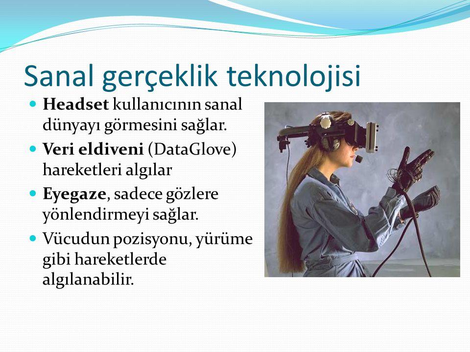 Sanal gerçeklik teknolojisi Headset kullanıcının sanal dünyayı görmesini sağlar. Veri eldiveni (DataGlove) hareketleri algılar Eyegaze, sadece gözlere