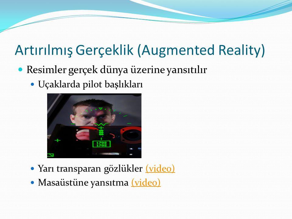 Artırılmış Gerçeklik (Augmented Reality) Resimler gerçek dünya üzerine yansıtılır Uçaklarda pilot başlıkları Yarı transparan gözlükler (video)(video)
