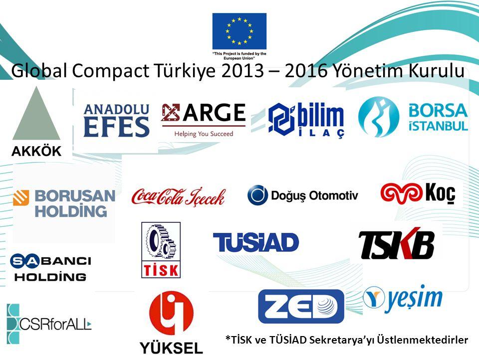 Global Compact Türkiye 2013 – 2016 Yönetim Kurulu *TİSK ve TÜSİAD Sekretarya'yı Üstlenmektedirler