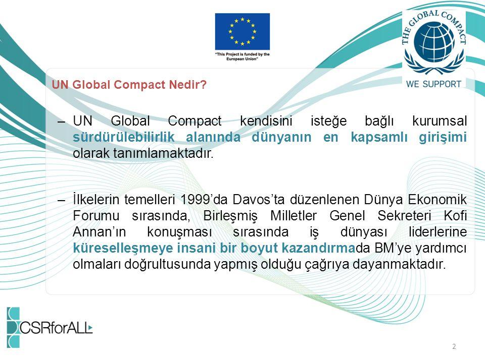 UN Global Compact Nedir? –UN Global Compact kendisini isteğe bağlı kurumsal sürdürülebilirlik alanında dünyanın en kapsamlı girişimi olarak tanımlamak