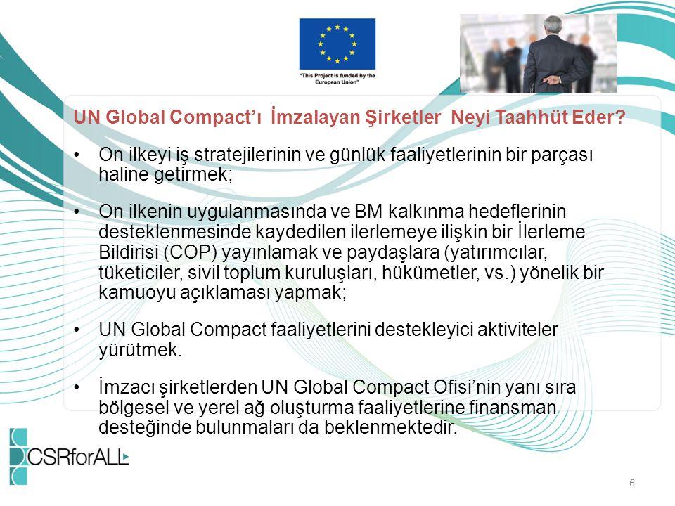 UN Global Compact'ı İmzalayan Şirketler Neyi Taahhüt Eder? On ilkeyi iş stratejilerinin ve günlük faaliyetlerinin bir parçası haline getirmek; On ilke
