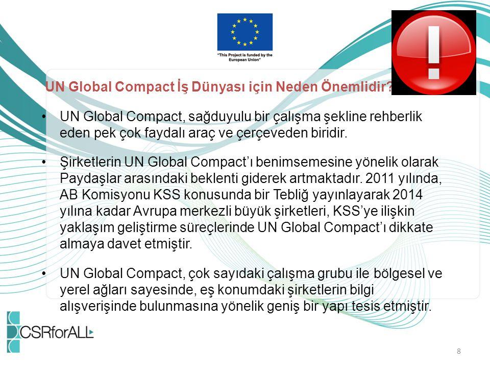 UN Global Compact İş Dünyası için Neden Önemlidir? UN Global Compact, sağduyulu bir çalışma şekline rehberlik eden pek çok faydalı araç ve çerçeveden