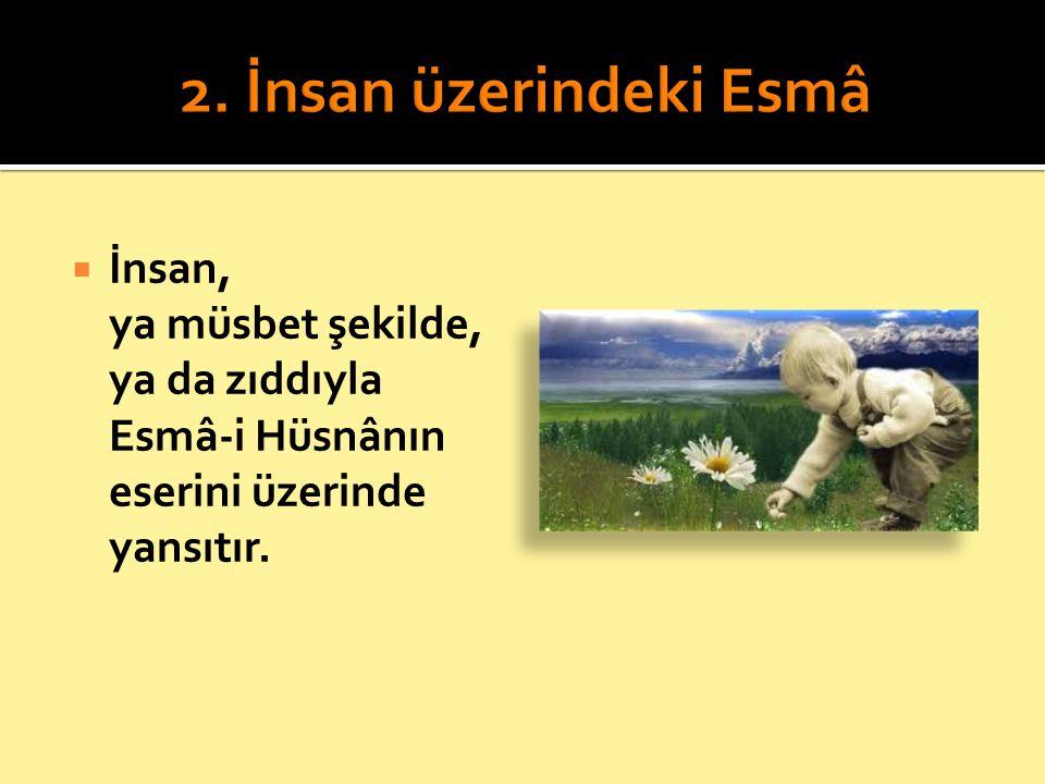  İnsan, ya müsbet şekilde, ya da zıddıyla Esmâ-i Hüsnânın eserini üzerinde yansıtır.