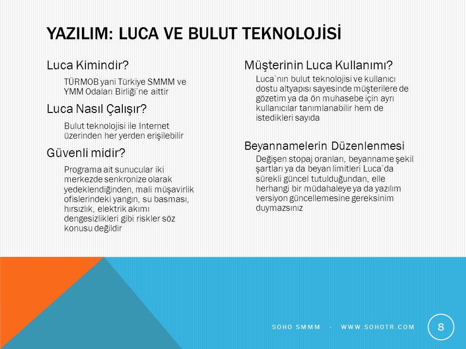 Luca Kimindir? TÜRMOB yani Türkiye SMMM ve YMM Odaları Birliği'ne aittir Luca Nasıl Çalışır? Bulut teknolojisi ile Internet üzerinden her yerden erişi