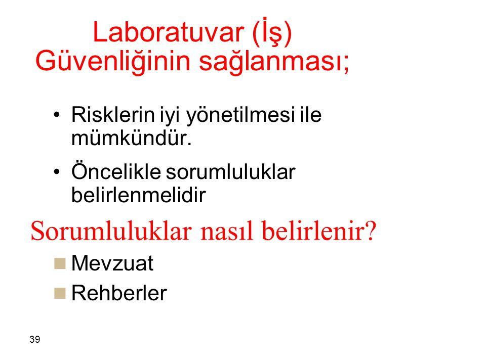 39 Laboratuvar (İş) Güvenliğinin sağlanması; Risklerin iyi yönetilmesi ile mümkündür. Öncelikle sorumluluklar belirlenmelidir Mevzuat Rehberler Soruml